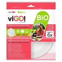 Biodegradowalne talerze z trzciny cukrowej rozmiar S viGO!, 6 sztuk