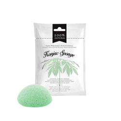 Gąbka z rośliny konjac do mycia twarzy zielona