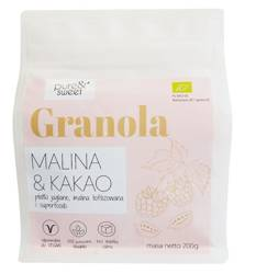 Granola malina - kakao bezglutenowa BIO 200 g - pure & sweet